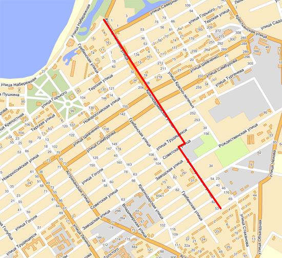 Улица красноармейская на карте анапы